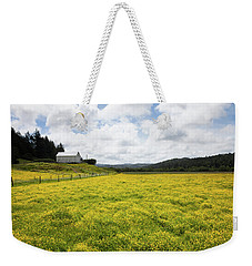 White Barn And Yellow Fields Weekender Tote Bag