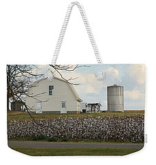 Weekender Tote Bag featuring the photograph White Barn Cotton Patch Sunny by Rosalie Scanlon