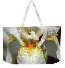 Weekender Tote Bag featuring the photograph White Bearded Iris 2 by Sheila Brown
