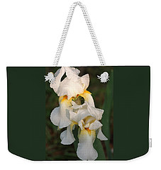 Weekender Tote Bag featuring the photograph Two White Bearded Iris At Dusk by Sheila Brown
