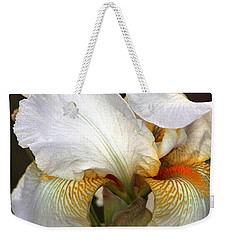 Weekender Tote Bag featuring the photograph White Bearded Iris by Sheila Brown