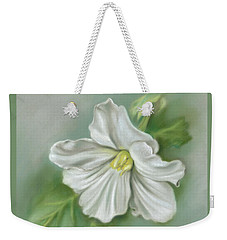 Weekender Tote Bag featuring the pastel White Begonia Flower by MM Anderson