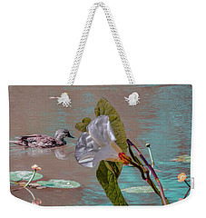 Weekender Tote Bag featuring the photograph White Bindweed And Mandarin Duck Mix #g5 by Leif Sohlman
