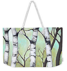 White Birch Weekender Tote Bag by Inese Poga