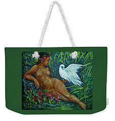 Weekender Tote Bag featuring the painting White Bird by Anna  Duyunova