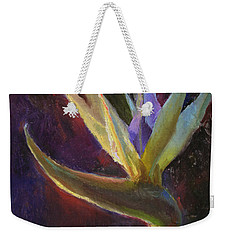 Weekender Tote Bag featuring the painting White Bird Of Paradise -tropical Flower Painting by Karen Whitworth