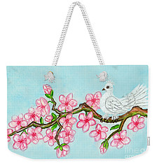White Bird On Branch With Pink Flowers, Painting Weekender Tote Bag