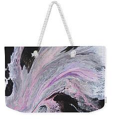 Weekender Tote Bag featuring the painting White/black/pink by Jamie Frier