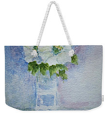 White Blooms In Blue Vase Weekender Tote Bag