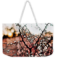 White Blossom Branches Weekender Tote Bag by Carol Crisafi