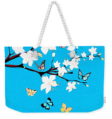 White Blossoms And Butterflies  Weekender Tote Bag