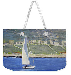 White Boat, Blue Sea Weekender Tote Bag