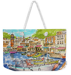 White Boat, Hydra Harbor Weekender Tote Bag