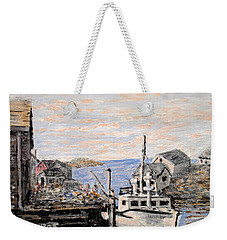 Weekender Tote Bag featuring the painting White Boat In Peggys Cove Nova Scotia by Ian  MacDonald