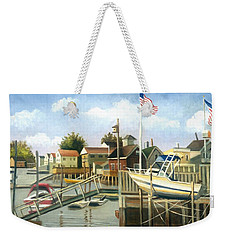 White Boat With Flags In Broad Channel Weekender Tote Bag