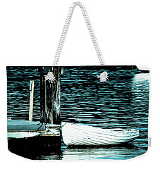 Weekender Tote Bag featuring the photograph White Boats by Ronda Broatch