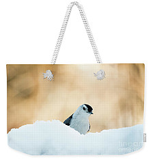 White Breasted Nuthatch In Snow Weekender Tote Bag
