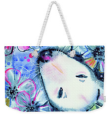 Weekender Tote Bag featuring the painting White Bull Terrier And Butterfly by Zaira Dzhaubaeva