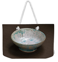 White Ceramic Bowl With Turquoise Blue Glaze Drips Weekender Tote Bag by Suzanne Gaff