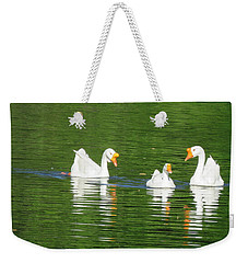 White Chinese Geese Weekender Tote Bag by Keith Stokes