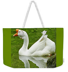Weekender Tote Bag featuring the photograph White Chinese Goose by Susan Garren