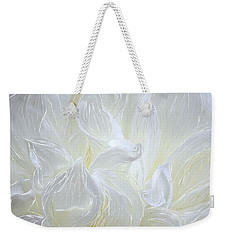 Weekender Tote Bag featuring the painting White Chrysanthemum by Barbara Chichester