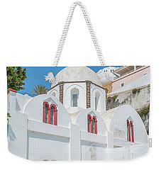 Weekender Tote Bag featuring the photograph White Church At Fira by Antony McAulay