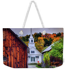 Weekender Tote Bag featuring the photograph White Church In Autumn - Waits River Vermont by Joann Vitali