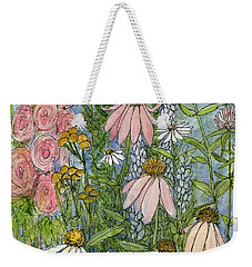 White Coneflowers In Garden Weekender Tote Bag