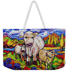 White Cow And Twin Calves Weekender Tote Bag
