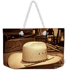 White Cowboy Hat In A Barn Weekender Tote Bag by American West Legend By Olivier Le Queinec