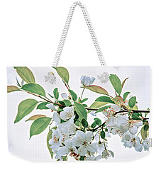 Weekender Tote Bag featuring the photograph White Crabapple Blossoms by Skip Tribby