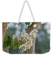 Weekender Tote Bag featuring the photograph White Crepe Myrtle by Maria Urso