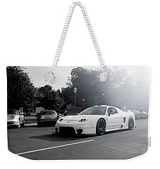 Weekender Tote Bag featuring the photograph White Custom Nsx  by Joel Witmeyer