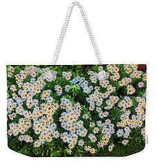 Weekender Tote Bag featuring the photograph White Daisy Bush by Roger Bester