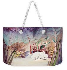 White Doe Dreaming Weekender Tote Bag