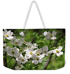 White Dogwood Blossoms Weekender Tote Bag by Trina Ansel