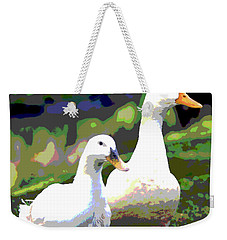 Weekender Tote Bag featuring the mixed media White Ducks by Charles Shoup