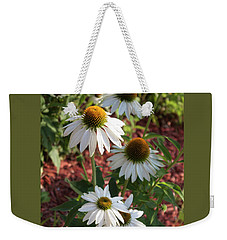 Weekender Tote Bag featuring the photograph White Echinacea by Suzanne Gaff