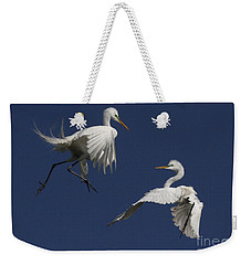 White Egret Ballet Weekender Tote Bag by Myrna Bradshaw
