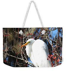 White Egret Bird Weekender Tote Bag