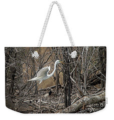 Weekender Tote Bag featuring the photograph White Egret by David Bearden