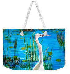 White Egret In Florida Weekender Tote Bag