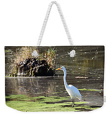 White Egret In The Shallows Weekender Tote Bag