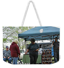 Weekender Tote Bag featuring the photograph White Ferret Car Show by Jack Pumphrey