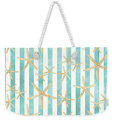 White Finger Starfish Watercolor Stripe Pattern Weekender Tote Bag by Audrey Jeanne Roberts