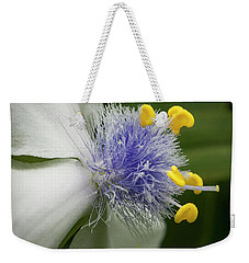 Weekender Tote Bag featuring the photograph White Flower by Jean Noren