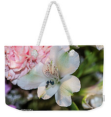 White Flower Weekender Tote Bag by Nance Larson