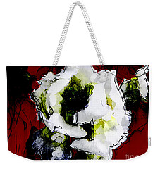 White Flower On Red Background Weekender Tote Bag