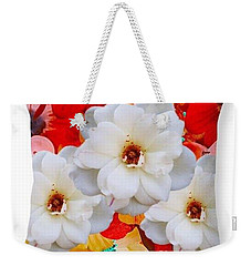 White Flower Throw Pillow Weekender Tote Bag by Gayle Price Thomas